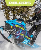 Blue Polaris Snowmobile.