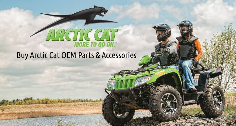 A couple rides a green ATV with text stating Buy Arctic Cat OEM Parts & Accessories..