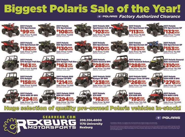 An illustrated list of various ATVs and UTVs on sale.