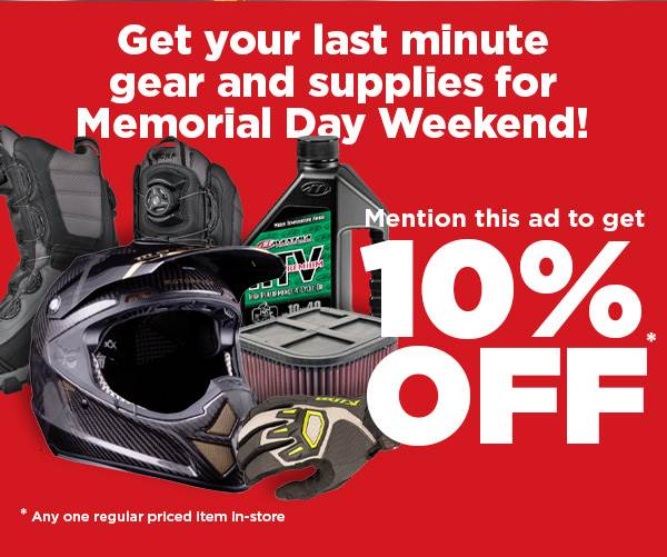 Various motorsports supplies. Get 10% off for Memorial Day weekend.